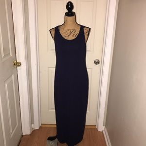 Eileen Fisher Navy Tank Maxi Dress Sz M